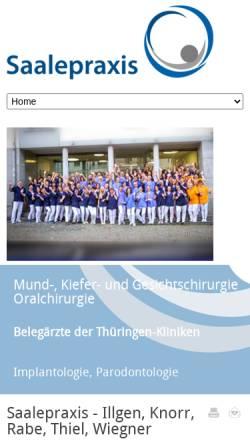 Vorschau der mobilen Webseite www.saalepraxis.de, Saalepraxis - Gemeinschaftspraxis Knorr, Rabe,Wiegner