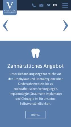 Vorschau der mobilen Webseite www.zahnarztpraxis-villiger.ch, Dr. med. med. dent. Christoph Villiger
