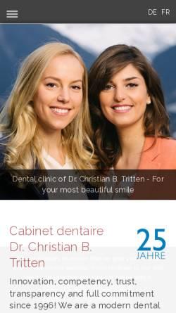 Vorschau der mobilen Webseite www.zahnarzt-tritten.ch, Zahnarztpraxis Dr. Christian B. Tritten