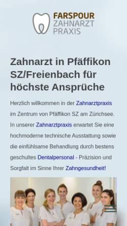 Vorschau der mobilen Webseite www.zahnarzt-farspour.ch, Zahnarztpraxis Dr. Farspour