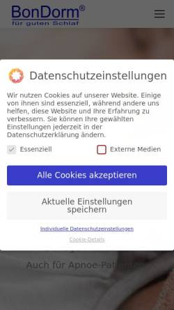 Vorschau der mobilen Webseite www.bondorm.de, BonDorm GmbH & Co. KG