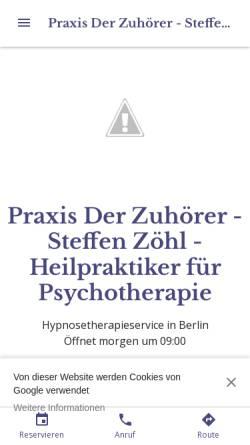 Vorschau der mobilen Webseite praxis-der-zuhoerer-steffen-zoehl.business.site, Der Zuhörer - Steffen Zöhl