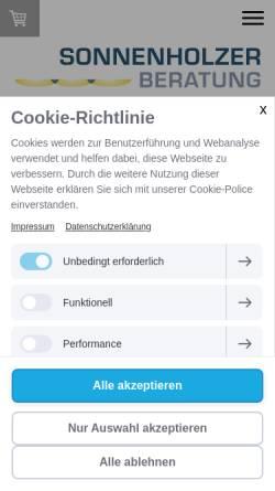 Vorschau der mobilen Webseite www.sonnenholzer.de, Sonnenholzer Beratung