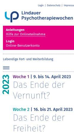 Vorschau der mobilen Webseite www.lptw.de, Lindauer Psychotherapiewochen - Fortbildung in Psychotherapie