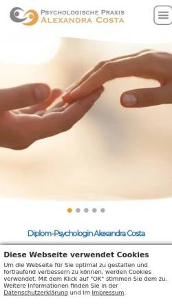 Vorschau der mobilen Webseite www.alexandracosta.de, Psychologische Praxis Diplom-Psychologin Alexandra Costa