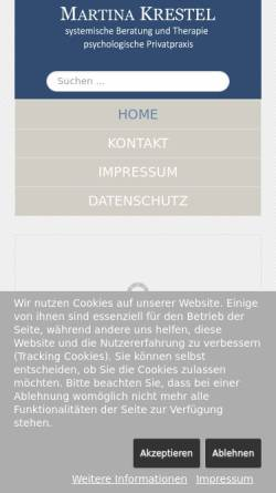 Vorschau der mobilen Webseite www.krestel-therapie.de, Martina Krestel - Psychologische Privatpraxis