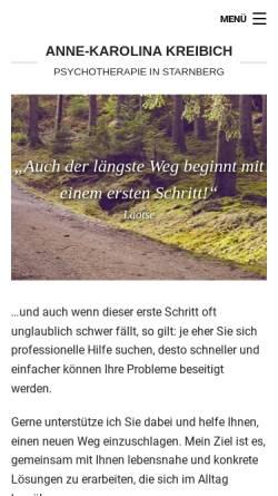 Vorschau der mobilen Webseite www.psychotherapiestarnberg.de, Dipl.-Psych. Anne-Karolina Kreibich