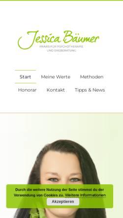 Vorschau der mobilen Webseite www.psychotherapie-baeumer.de, Jessica Bäumer - Praxis für Psychotherapie und Eheberatung