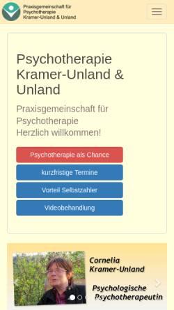 Vorschau der mobilen Webseite www.psychotherapiepraxis-brilon.de, Praxis Kramer-Unland und Unland