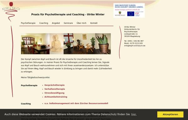 Vorschau von www.kopf-und-bauch.de, Praxis für Psychotherapie und Coaching - Ulrike Winter