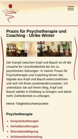 Vorschau der mobilen Webseite www.kopf-und-bauch.de, Praxis für Psychotherapie und Coaching - Ulrike Winter