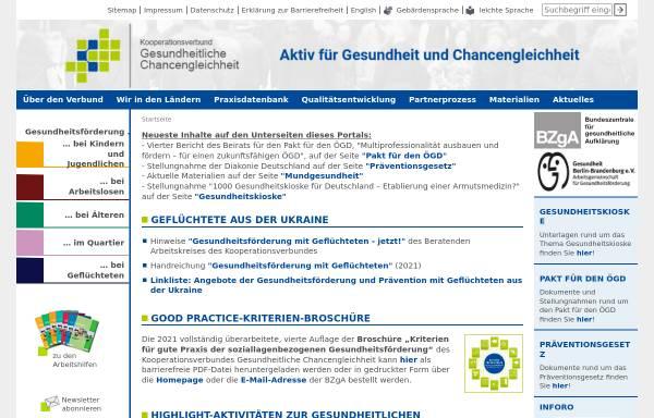 Vorschau von www.gesundheitliche-chancengleichheit.de, Kooperationsverbund Gesundheitliche Chancengleichheit