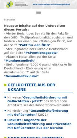 Vorschau der mobilen Webseite www.gesundheitliche-chancengleichheit.de, Kooperationsverbund Gesundheitliche Chancengleichheit