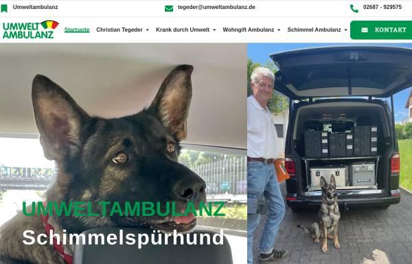 Vorschau von schimmelspuerhund.de, Umweltambulanz Dipl. -Ing. Christian Tegeder