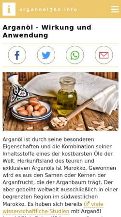 Vorschau der mobilen Webseite www.arganoel360.info, Arganöl
