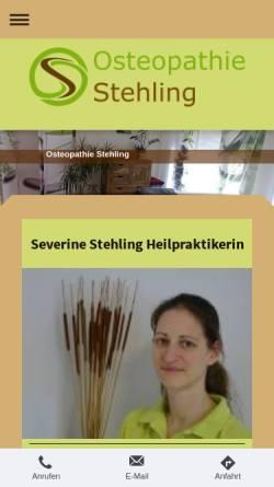 Vorschau der mobilen Webseite www.osteopathie-stehling.de, Severine Stehling