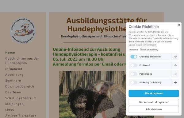 Vorschau von www.bluemchen-hundephysiotherapie.de, Deutsche Ausbildungsstätte für Hundephysiotherapie