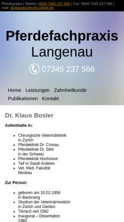 Vorschau der mobilen Webseite www.pferdepraxisamried.de, Pferdepraxis am Ried - Dr. Klaus Bosler