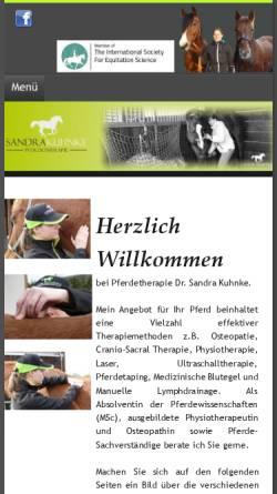 Vorschau der mobilen Webseite www.pferdetherapie-kuhnke.de, Pferdetherapie Sandra Kuhnke