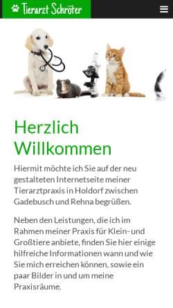 Vorschau der mobilen Webseite www.tierarzt-schroeter.de, Tierarztpraxis Schröter