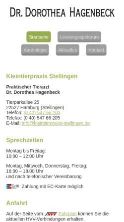 Vorschau der mobilen Webseite www.kleintierpraxis-stellingen.de, Kleintierpraxis Stellingen - Tierarzt Dr. Dorothea Hagenbeck