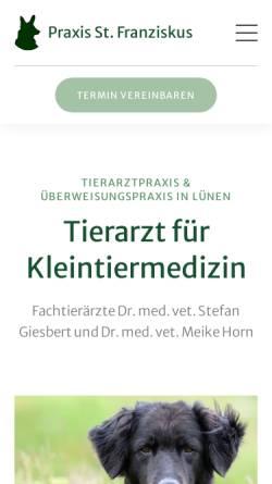 Vorschau der mobilen Webseite www.xn--tierarzt-lnen-5ob.de, Tierärztliche Praxis St. Franziskus, Dr. med. vet. Stefan Giesbert
