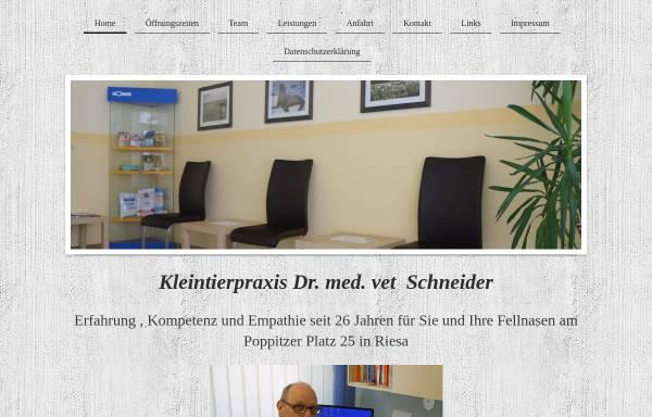 Vorschau von www.tierarztpraxis-schneider-riesa.de, Kleintierpraxis Dr. Roland Schneider