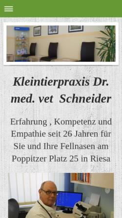Vorschau der mobilen Webseite www.tierarztpraxis-schneider-riesa.de, Kleintierpraxis Dr. Roland Schneider