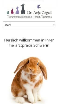 Vorschau der mobilen Webseite www.tierarztpraxis-schwerin.de, Dr. Anja Zogall, praktische Tierärztin