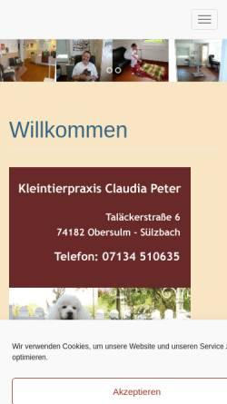 Vorschau der mobilen Webseite www.kleintierpraxis-claudia-peter.de, Kleintierpraxis Claudia Peter