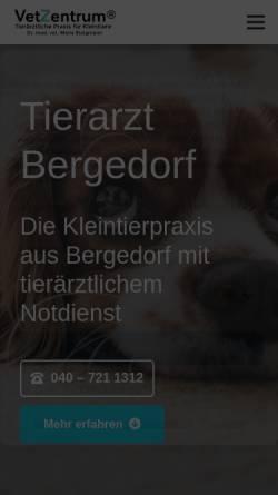 Vorschau der mobilen Webseite www.vetzentrum.de, Praxis für Kleintiere Dr. med. vet. Maria Steigmann