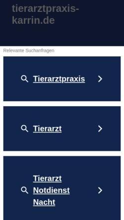 Vorschau der mobilen Webseite www.tierarztpraxis-karrin.de, Kleintierpraxen Dr. Claudia Bender