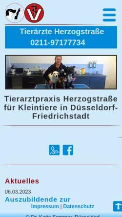 Vorschau der mobilen Webseite fachtierarztpraxis-duesseldorf.de, Tierarztpraxis Herzogstraße