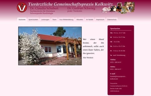 Vorschau von www.tierarztpraxis-kolkwitz.de, Tierärztliche Gemeinschaftspraxis Kolkwitz Dres. Berger & Schubert