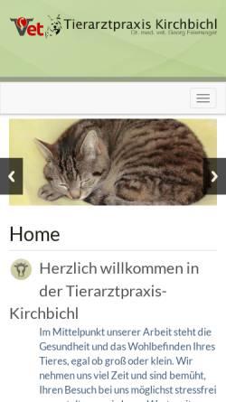 Vorschau der mobilen Webseite www.tierarztpraxis-kirchbichl.at, Tierarztpraxis Dr. med. vet. Georg Feiersinger