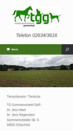 Vorschau der mobilen Webseite tierarztpraxis-gommerscheid.de, Tierärztliche Gemeinschaftspraxis Gommerscheid