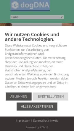 Vorschau der mobilen Webseite www.dogdna.de, Dog DNA - Galantos Genetics