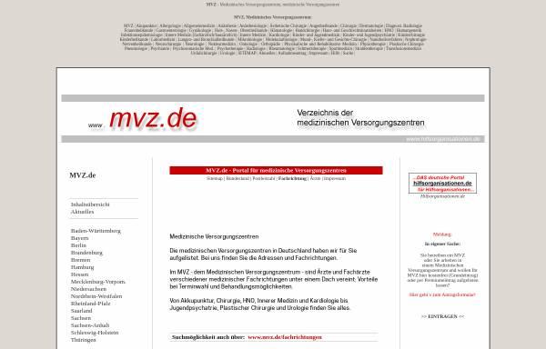 Vorschau von www.mvz.de, Verzeichnis der Medizinischen Versorgungszentren