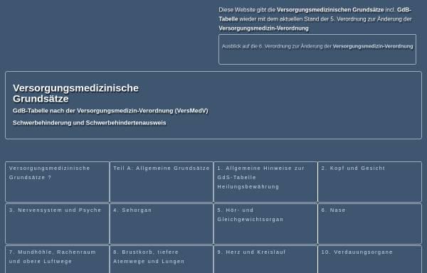 Vorschau von www.versorgungsmedizinische-grundsaetze.de, Versorgungsmedizinische Grundsätze VersMedVO