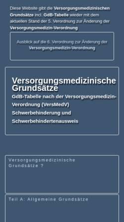 Vorschau der mobilen Webseite www.versorgungsmedizinische-grundsaetze.de, Versorgungsmedizinische Grundsätze VersMedVO