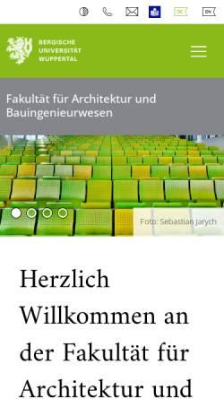 Vorschau der mobilen Webseite www.arch.uni-wuppertal.de, Architektur