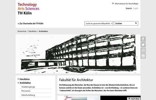 Vorschau von www.th-koeln.de, TH Köln: Fakultät für Architektur