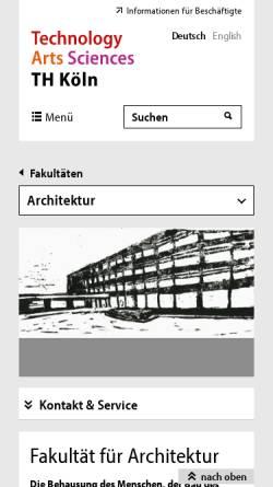 Vorschau der mobilen Webseite www.th-koeln.de, TH Köln: Fakultät für Architektur