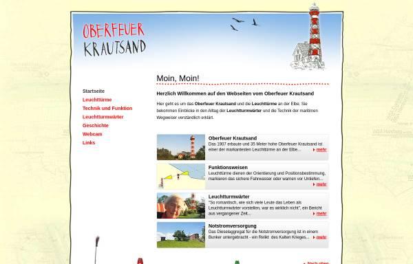 Vorschau von www.oberfeuer-krautsand.de, Oberfeuer Krautsand - Leuchtturm an der Elbe