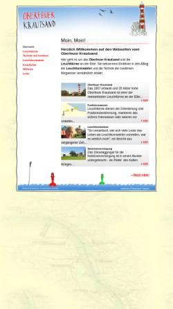 Vorschau der mobilen Webseite www.oberfeuer-krautsand.de, Oberfeuer Krautsand - Leuchtturm an der Elbe