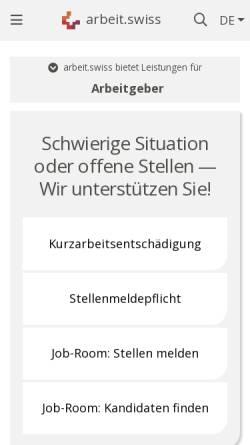 Vorschau der mobilen Webseite www.arbeit.swiss, Treffpunkt-Arbeit
