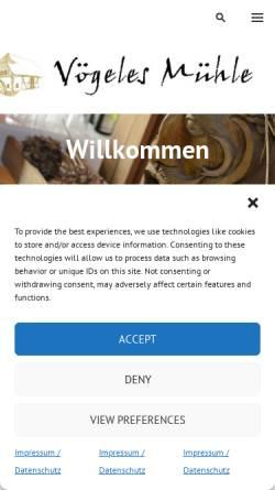 Vorschau der mobilen Webseite www.voegeles-muehle.de, Vögeles Mühle
