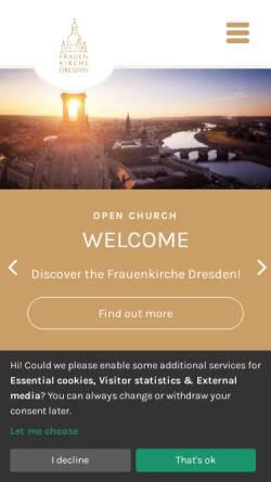 Vorschau der mobilen Webseite www.frauenkirche-dresden.de, Frauenkirche Dresden