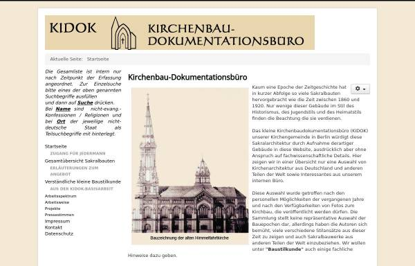 Vorschau von www.kirchenbau-dokumentation.de, KIDOK - Kirchenbaudokumentationsbüro