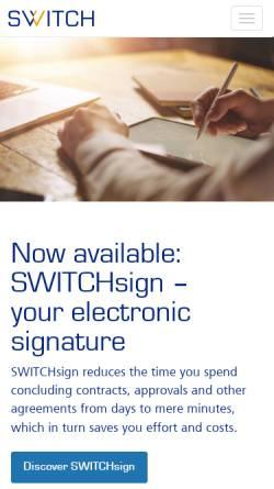 Vorschau der mobilen Webseite www.switch.ch, SWITCH The Swiss Education and Research Network